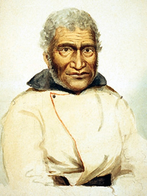 A painted portrait of a man named Old Cox with graying hair and brown skin against a white background. He is wearing a white double-breasted coat with a single button and dark collar.