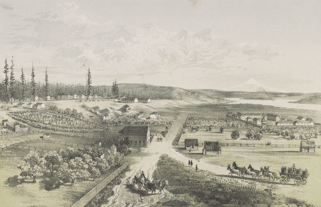 A sepia landscape scene depicting the primary road running through a fort. There are many residential and commerce-related buildings, agricultural crops enclosed by fences, and horse-drawn carriages carrying people and cargo. In the background there is a waterway, rolling hills, and a snow-capped mountain peak.