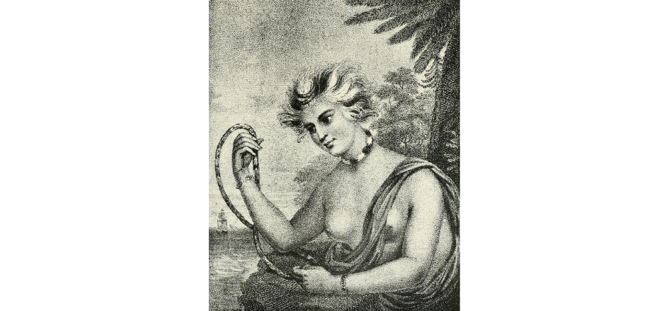 An etched black and white portrait of a Hawaiian woman named Waineʻe, with anglicized facial features who is wearing a necklace and bracelets. Her hair is streaked dark and light. The ocean, a ship, and palm trees are in the background.