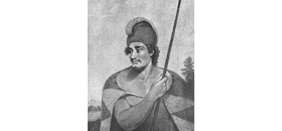 An etched black and white portrait of a man wearing a feathered cloak and feathered helmet and holding a spear. There are trees and a mountainous landscape in the background.