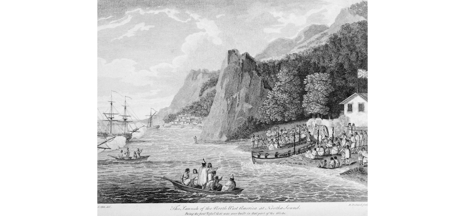 An etched black and white landscape depicting a coastal scene. There are four large ships and two smaller passenger boats in the water. In the most prominent passenger boat, two people stand, one of which is cloaked and wearing a headdress. Many people sit and stand on shore near and around an empty passenger boat at the edge of the water. Behind them there is a single building flying a flag. In the distance, the landscape is rocky and there is a small town.