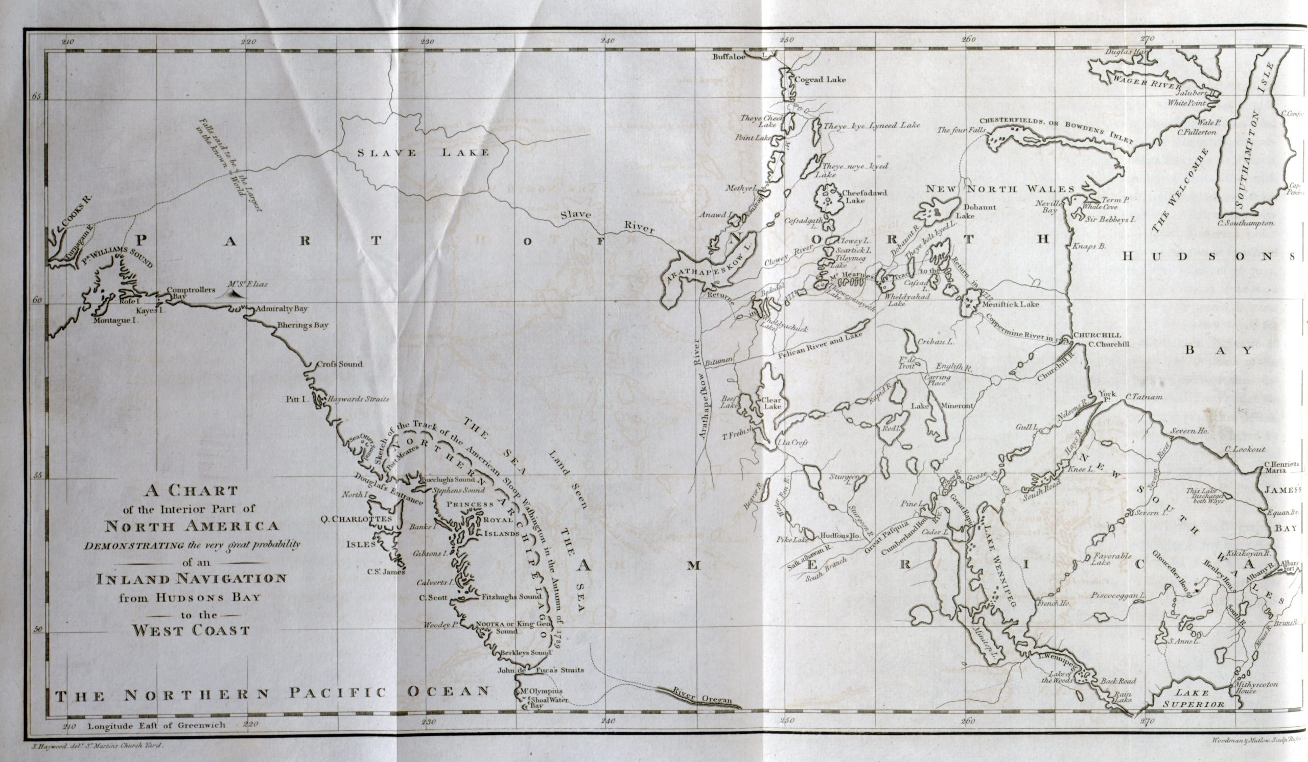 """A white map with black print. At the northernmost point """"Buffaloe"""" and """"Cogead Lake"""" are labeled, and the map stretches down to show the features labeled """"Lake Superior"""" and """"River Oregan."""" Hudson Bay features prominently on the right hand side and details of the Pacific coast are visible down the left."""