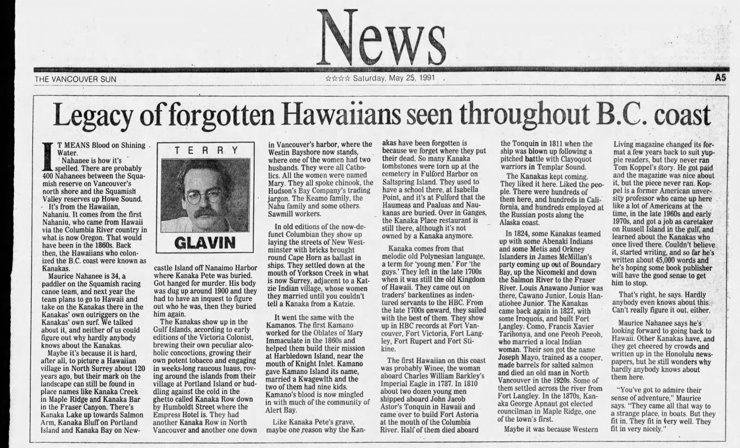 "A page of The Vancouver Sun newspaper from Saturday, May 25, 1991. The featured article is titled, ""Legacy of forgotten Hawaiians seen throughout B.C. coast."""