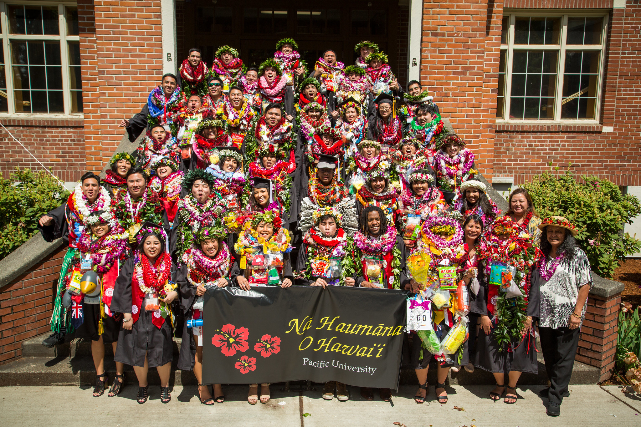 "A modern color photograph of a large group of students dressed in black graduation gowns brightly decorated with flowers, leis, food, candy, and other items. Four students in front hold a black sign that reads, ""Na Haumana O Hawai'i"" and below that in smaller font, ""Pacific University."" To the left of the text there is a graphic of three red and yellow flowers each containing the Hawaiian islands. An older adult not wearing a gown stands in front on the right."
