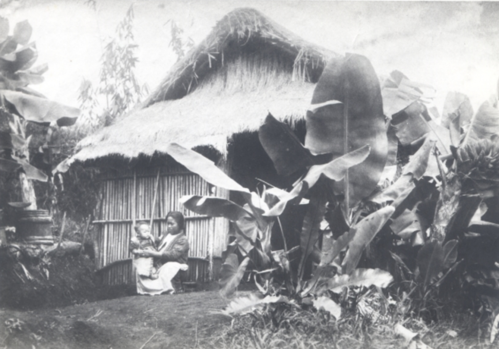 An aged, black and white photograph of a woman sitting low to the ground in front of an A-frame hut holding a small child in her lap. The hut is constructed of bamboo and has a straw roof. It is surrounded by vegetation with large, flat leaves.