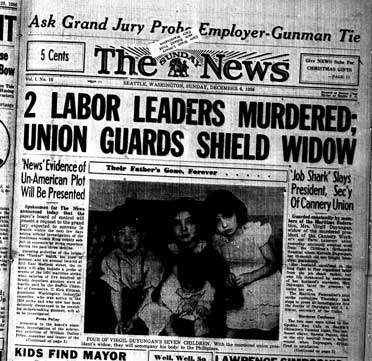 """The front page of The Sunday News from Sunday, December 1, 1936. The headline reads, """"2 Labor Leaders Murdered; Union Guards Shield Widow."""" A black and white photo of four children is featured in the center with the caption """"Their Father's Gone, Forever."""" Below the photograph, text reads, """"Four of Virgil Suyungan's Seven Children."""""""